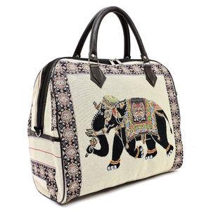 Hindu Elephant Jacquard Canvas Carry On Duffel Bag